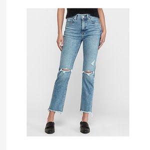 Express Frayed Hem Straight Jeans